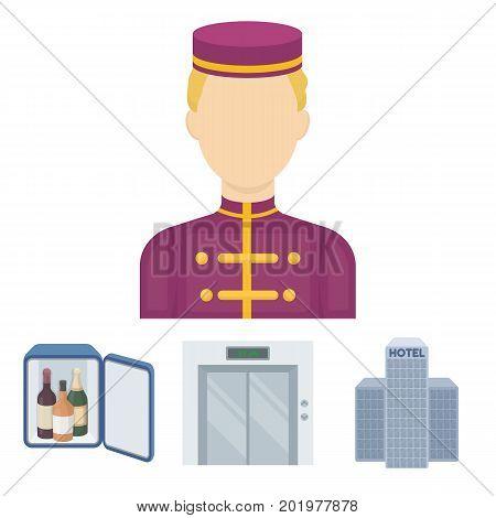 Elevator car, mini bar, staff, building.Hotel set collection icons in cartoon style vector symbol stock illustration web.