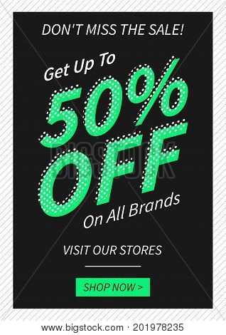 Vector promotional Get 50 percent off on all brands banner for online stores websites retail posters. Creative banner layout for promotions retail sale materials coupons advertising.