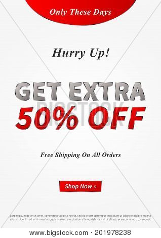 Banner Get Extra 50 percent vector illustration. Creative banner layout for m-commerce mobile promotions retail sale materials coupons advertising.