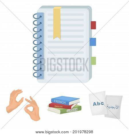 A pile of books in different languages, sheets of paper with translation, a gesture of deaf mutes, a notebook with text. Interpreter and translator set collection icons in cartoon style vector symbol stock illustration .