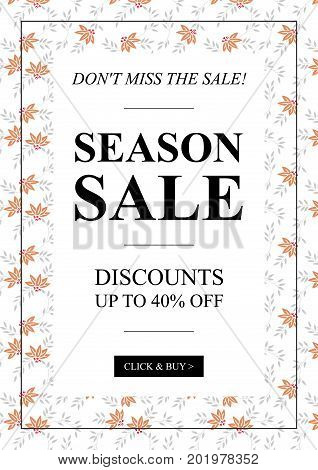 Vector Season Sale Up To 40 percent off banner with leaves pattern for online stores retail posters social ads. Creative banner layout for m-commerce promotions coupons advertising.