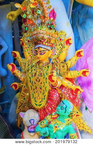 KOLKATA WEST BENGAL INDIA - 25 SEPTEMBER 2016: Clay idol of Goddess Durga under preparation for