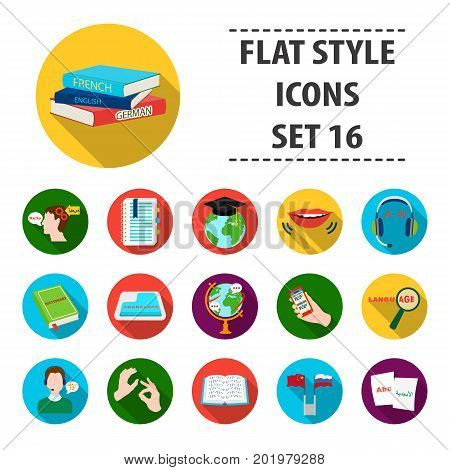 Interpreter and translator set icons in flat design. Big collection of interpreter and translator vector symbol stock illustration
