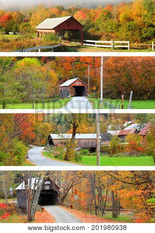 Collage of New England covered bridges in autumn time