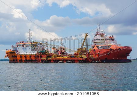 Labuan,Malaysia-May 1,2017:The Offshore supply ships oil & gas in Labuan island,Malaysia.All the vessels in Labuan island,most related to the offshore Oil & Gas industry.