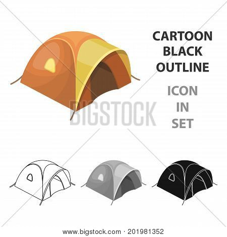 Tent tourist with awning.Tent single icon in cartoon style vector symbol stock illustration .