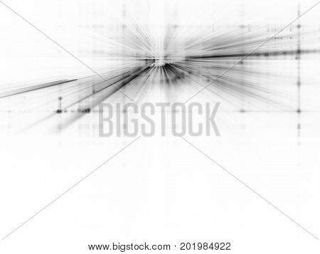 Abstract background. Fractal graphics series. Three-dimensional composition of bokeh blurred grids and light beams.