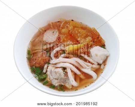 pork Noodles Tom Yam in soup thai style on white background