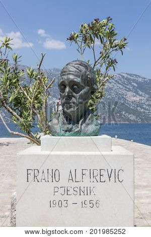 PERAST, MONTENEGRO - AUGUST 04, 2017:Bust of Frano Alfirevich on the island of Gospa od Skrpela in the Boko-Kotorsky Gulf.