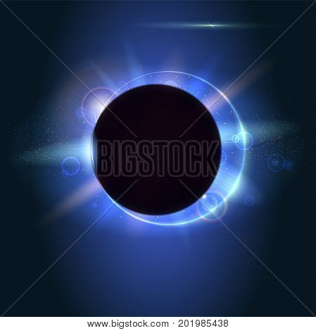 Solar eclipse, astronomical phenomenon - full sun eclipse. Blurred light rays and lens flare backdrop. Glow light effect. Star burst with sparkles. The planet covering the Sun in eclipse