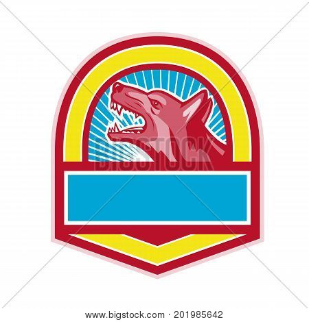 Retro style illustration of a Growling angry German Shepherd Dog viewed from side set inside Crest on isolated background.