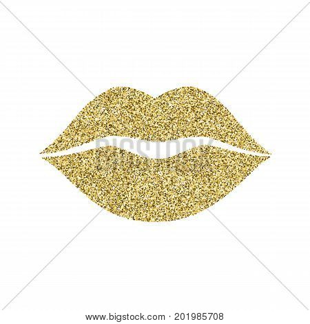 Lip icon with glitter effect, isolated on white background. Outline icon of mouth, vector pictogram. Symbol of kiss from golden particles dust.