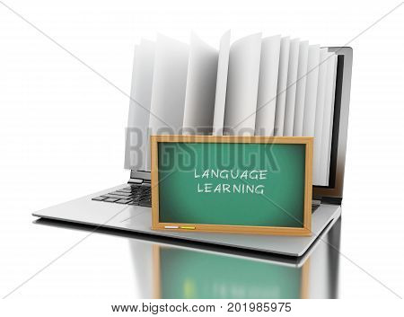 3D Laptop Computer With Book Pages And