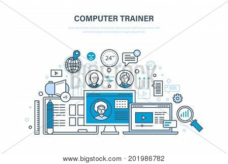 Computer trainer. Personal trainer online. System of training and courses, distance learning, knowledge, teaching and skills. New learning technology. Illustration thin line design of vector doodles.