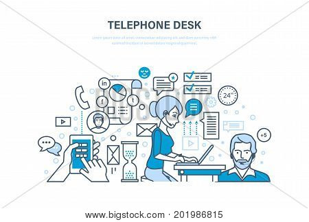 Telephone desk. Workplace, workflow office room. Colleagues, communications, teamwork. Partnership, online problem solving, business consultation. Illustration thin line design of vector doodles