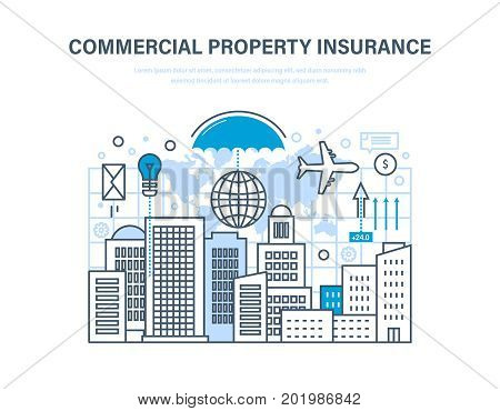 Commercial property insurance. Crediting and property insurance, financial security, commercial activity, finance, business insurance, property. Illustration thin line design of vector doodles.