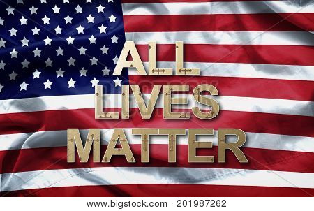 All lives matter slogan on American flag background