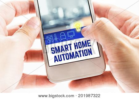 Close Up Two Hand Holding Mobile Phone With Smart Home Automation Word And Icons, Digital Technology