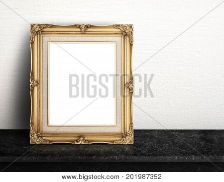 Blank Gold Victorian Picture Frame On Black Marble Table At White Tile Wall,template Mock Up For Add