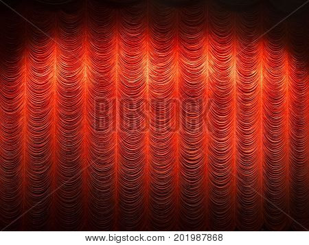spotlight on red layer curtain or drapes background at theater