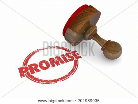 Promise Stamp Guarantee Vow Word 3d Illustration poster