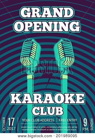 Vector karaoke club poster with retro microphones on radio signal circles background. Grand opening club illustration