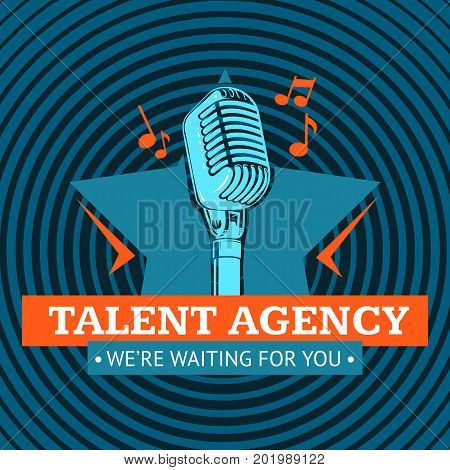 Talent agency logo, emblem with star and retro microphone on radio signal circles background. Vector illustration