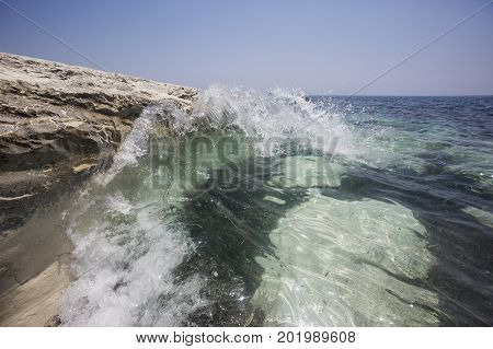 Wave And White Rock Near Governor's Beach, Cyprus. Sea Landscape.
