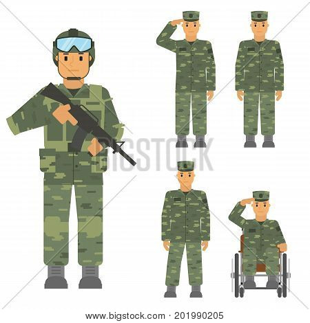 Vector set of soldier man isolated on white background. Saluted soldier, warrior with weapon, soldier in armchair, soldier an attention. Camouflage uniform and battle weapon