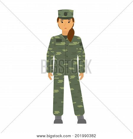 Vector illustration soldier woman in free posture isolated on white background. Camouflage uniform. Army soldier woman symbol