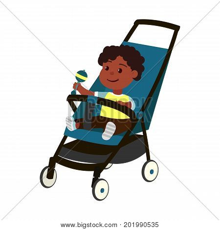 Vector color illustration of little african baby boy with rattle on perambulator isolated on white background
