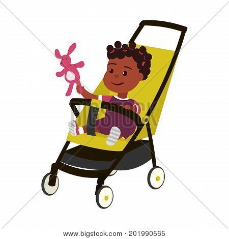 Vector color illustration of little african baby girl with toy on perambulator isolated on white background. Maternity symbol