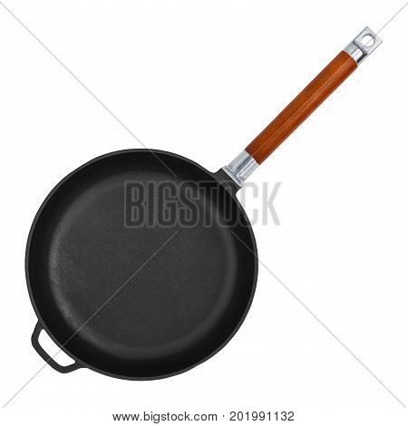 Empty cast iron frying pan isolated on white background closeup top view