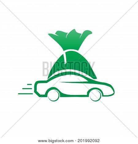 outline of vehicle with bag of money, vehicle finance logo, icon design, isolated on white background.