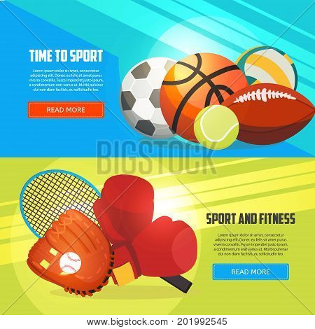 Sport and fitness horizontal banners. Football basketball boxing tennis baseball rugby voleyball vector illustration. Creative sport games concept banners.