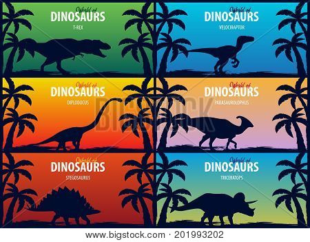 Banner Collection World Of Dinosaurs. Prehistoric World. T-rex, Diplodocus, Velociraptor, Parasaurol