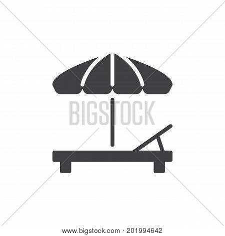 Beach umbrella and Sun lounger icon vector, filled flat sign, solid pictogram isolated on white. Sunbed symbol, logo illustration. Pixel perfect vector graphics