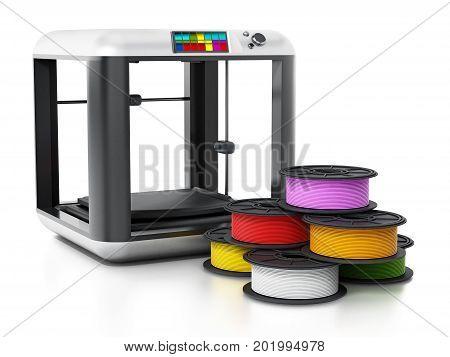 3D printer and spare filaments. 3D illustration.