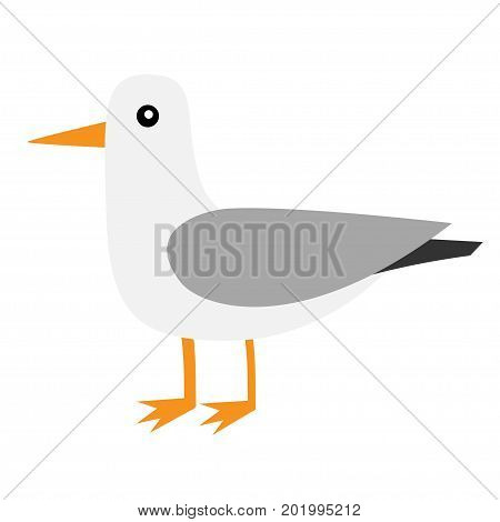 Antarctica albatross icon. Petrel Seagull wandering royal bird. Arctic animal collection. Cute cartoon baby character. Winter white background. Isolated. Flat design. Vector illustration