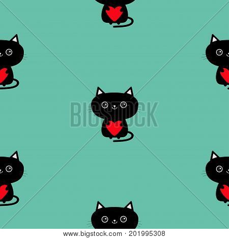 Cute black cat holding red heart. Pattern Seamless. Funny cartoon animal character. Kitty kitten. Baby pet collection. Wrapping paper textile template. Blue background. Isolated. Flat design. Vector