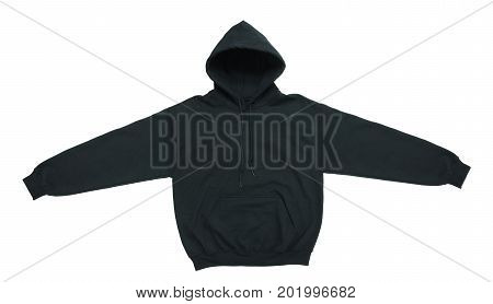spread blank hoodie sweatshirt color black front view on white background