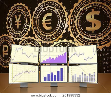 Monitors with stock charts.Concept of global currency trading.