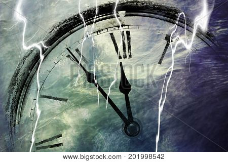 Retro clock with five minutes before twelve with lightning strike