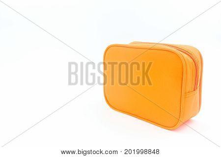 Oreng leather cosmetic bag on white background.