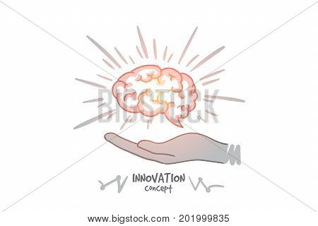 Innovation concept. Hand drawn humans brain in hands. Brain as a symbol of creativity and ideas isolated vector illustration.