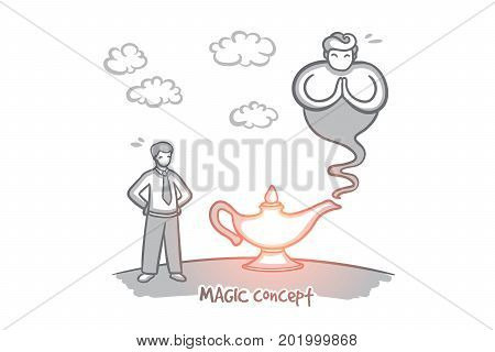Magic concept. Hand drawn lamp of wishes. Genie coming out of the bottle isolated vector illustration.