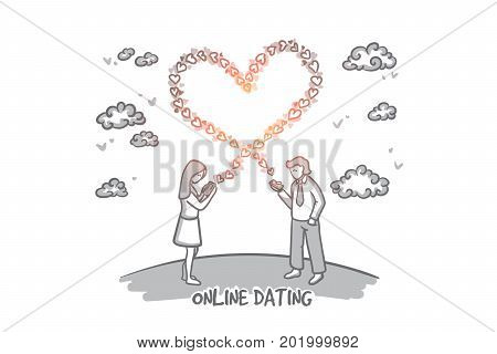 Online dating concept. Hand drawn young man and woman sending love messages. Happy woman sending love text message on mobile phone isolated vector illustration.