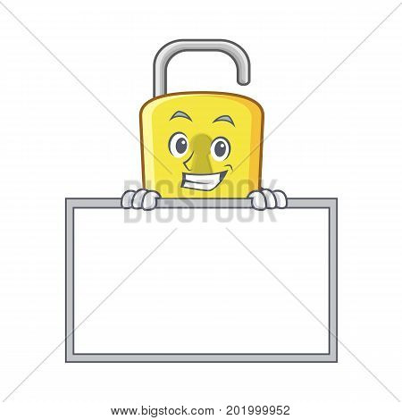 Grinning with board yellow lock character mascot vector illustration