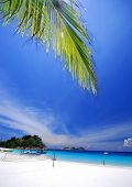 Tropical beach with white powder sand and clear cystal water poster