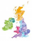 British Isles map colored by countries and regions poster